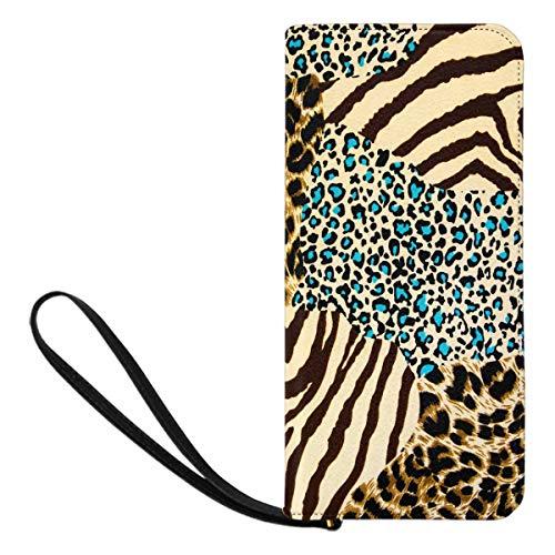 Clutch Tiger (InterestPrint Women's Tiger Prints and Zebra Wristlet Clutch Large Travel Purse Wristlet)
