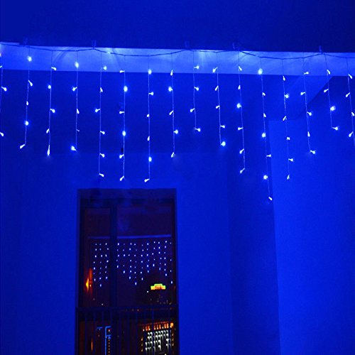 (Lainin 3.5M/11ft 96 LED Blue Linkable Fairy Curtain String Light with 8 Modes for Indoor/Outdoor/Patio/Wedding/Christmas Party Holiday Decoration)