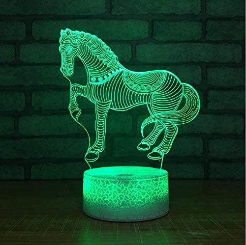 Buntes 3D Nachtlicht Lovely Zebra Horse Led 7 Color Illusion Bedroom Mood Table Lamp Holiday Light For Child Kids Toys…