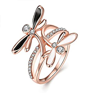 New Exquisite Fashion Jewelry Rose Gold Dragonfly Diamond Zircon Ring – LuckyWeng