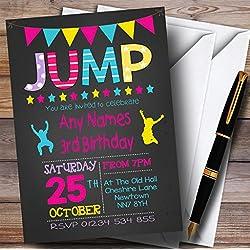 Chalk Girls Jump Trampoline Childrens Birthday Party Invitations