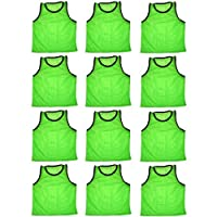 BlueDot Trading 12 chalecos de entrenamiento scrimmage de pinnies deportivos verdes 12 adultos