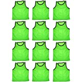 BlueDot Trading Adult Sports Pinnie Scrimmage Training Vest, Green, 12 Pack
