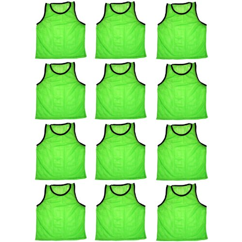 (BlueDot Trading Adult Sports Pinnie Scrimmage Training Vest, Green, 12 Pack)