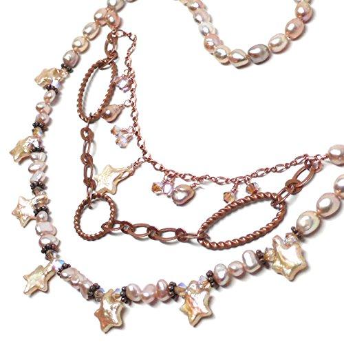 Peach Cultured Pearl Stars Copper Chain Graduated Bib Necklace