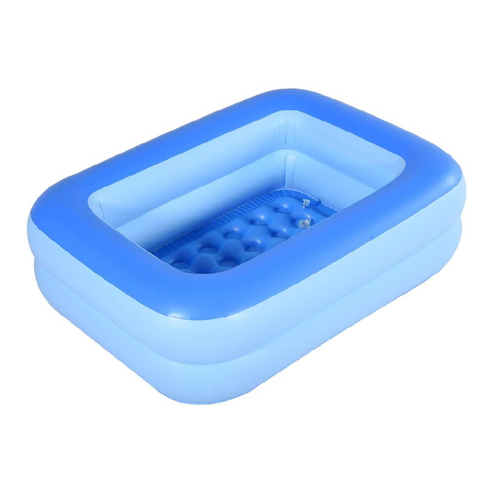 HIWENA Inflatable Kiddie Pool, 45'' Blue Kids Swimming Pool Summer Water Fun Bathtub with Inflatable Soft Floor by HIWENA