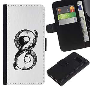 Paccase / Billetera de Cuero Caso del tirón Titular de la tarjeta Carcasa Funda para - white sketch octopus monster infinity - Samsung Galaxy S6 SM-G920