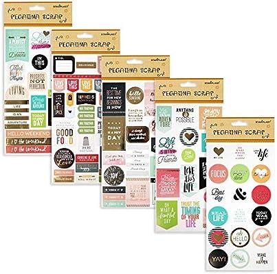 131395 - Pack de 10 láminas de pegatinas adhesivas scrapbooking, 10 diseños diferentes