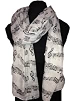 Big scarf, grey with black music notes print scarf. Lovely warm winter scarf Fantastic Gift