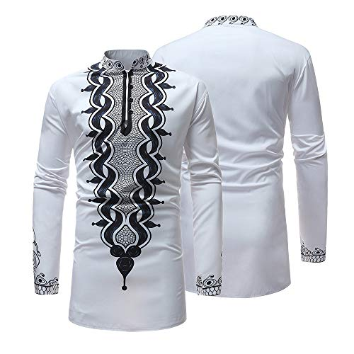 ◕‿◕ Toponly Luxury African Print Long Sleeve Dashiki Shirt Top Pullover for Men -