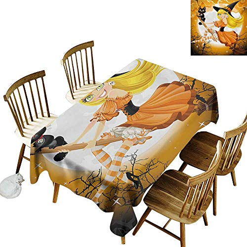 Barbecue Long Tablecloth W50 x L80 Halloween Cute Sexy Witch on a Broom with Baby Kitten and Hazy Moonlight Halloween Themed Multicolor Great for restauran & More