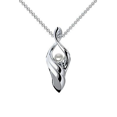 Weiße Perlenanhänger Halskette Frauen Rose Gold 925 Silber Geburtstagsgeschenk