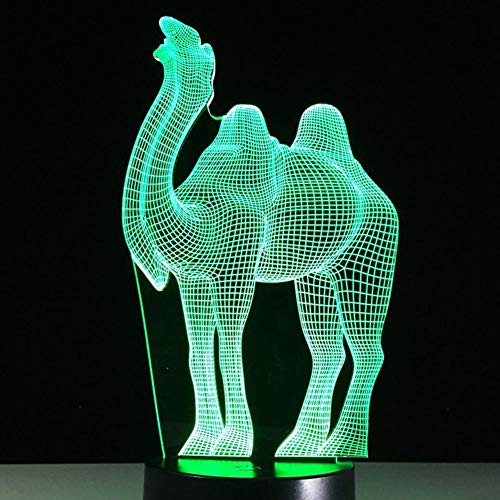 (ZBHW Camel 3D Optical Illusions LED Lamps Amazing 7 Changing Colors Acrylic Touch Button Table Desk Night Light with 150cm USB Cable for Kids Bedroom Christmas Birthday Gifts)