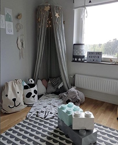 Children Bed Canopy Round Dome, Cotton Mosquito Net, Kids Princess Play Tents, Room Decoration for Baby Indoor Outdoor Playing (Gray) by Fangsi (Image #5)