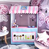 Tiny Land Ice Cream Cart for Kids with Play Food (4 pcs)- Colorful Toddler Business Cart for Child Development and Learning (49 Inches Tall) - Children Play Tent and Indoor Playhouse