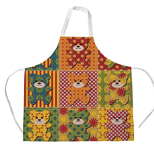 iPrint Cotton Linen Apron,Two Side Pocket,Cabin Decor,Colorful Kids Room Pattern with Patchwork Style Teddy Bears Cute Funny Childish Decorative,Multicolor,for Cooking Baking ()