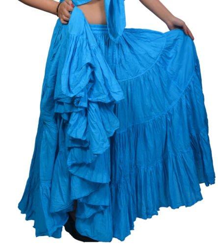 Plain 25 Yard Yards Tribal Gypsy algodón vientre bailando danza falda ATS L36inch - Color Variation (Turq)
