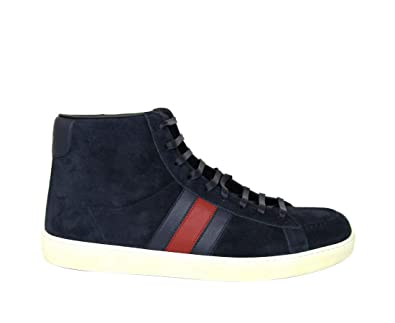 a3b671577f9 Amazon.com: Gucci Men's Navy Suede BRB Leather Web Detail High-top ...