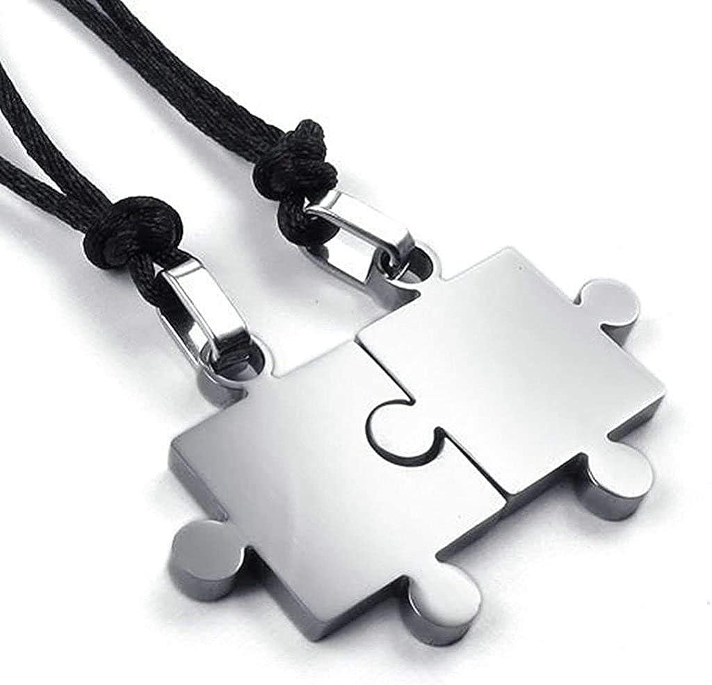 LOPEZ KENT Stainless Steel Necklaces Mens Pendant Necklaces Puzzle Design Color