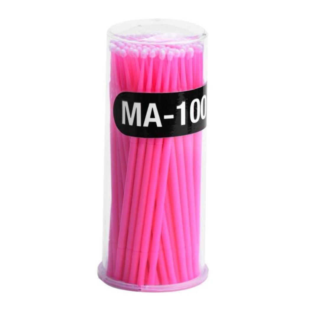 Kemilove 100Pc/ Bottle Microblading Micro Brushes Swab Lint Free Tattoo Permanent Supplies (Pink)