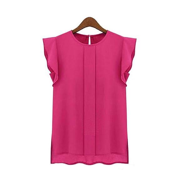 Camisetas de Gasa Mujeres Blusa de Mangas Voladoras para Señoras Tops de Color Puro Ropa Suelta Cuello Redondo Moda Diario Fiesta Verano❤️️Lonshell: ...
