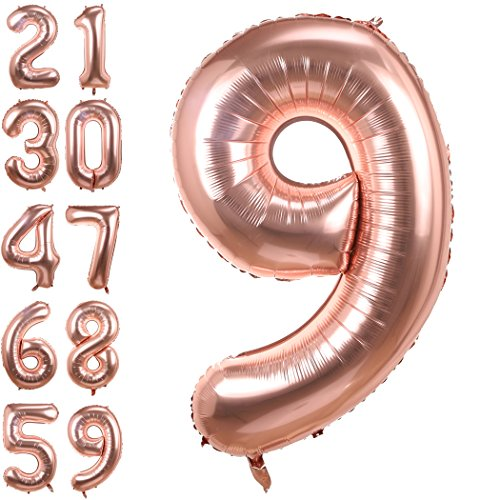 Big Number 9 Balloons Rose Gold Mylar Foil Helium Balloons Birthday Party Decorations for Anniversary