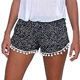 FarJing Big Women Summer New Polka Dot High Waist Tassel Shorts Casual Short Pants (L, Black)