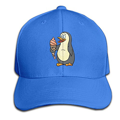 Penguin With Icecream Adjustable Baseball Caps Unstructured Dad Hat 100% Cotton RoyalBlue