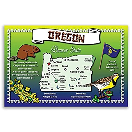 Amazon.com : OREGON STATE MAP postcard set of 20 identical postcards ...