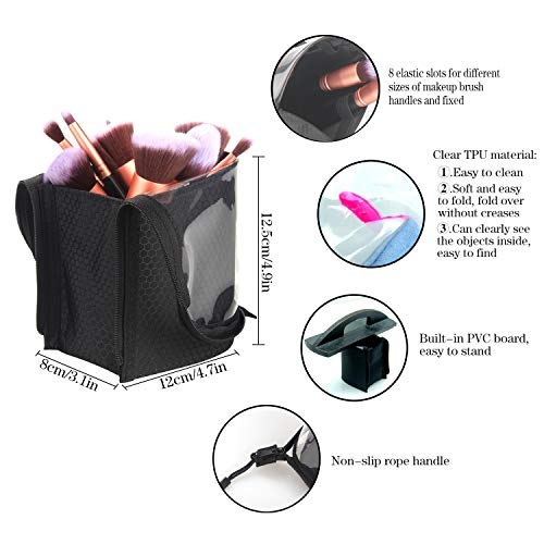 Travel Makeup Brush Bag,Chomeiu Makeup Brush Set Holder Foundation Brushes Bag Organizer Makeup Artist Face Makeup Brush Sets Carry Case(Black-L)