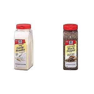 McCormick Fine Garlic Powder, 21 oz & McCormick Table Ground Black Pepper, 16 oz