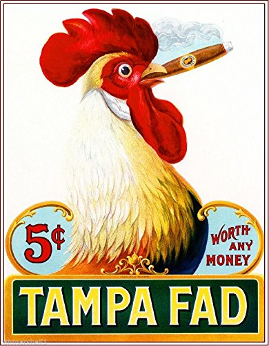 (A SLICE IN TIME 1905 Tampa Fad Rooster Chicken Smoke Cigar Tobacco Crate Box Inner Label Advertising 7 x 10 inch Vintage REPRODUCTION Art Print. Printed on 8.5 x 11 soft gloss cardstock)
