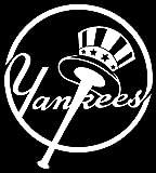 yankee window decal - New York Yankees logo logotype (WHITE) (set of 2) - silhouette stencil artwork by ANGDEST - Waterproof Vinyl Decal Stickers for Laptop Phone Helmet Car Window Bumper Mug Cup Door Wall Home Decoration