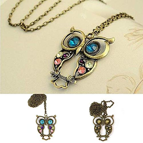- Noopvan Fashion Necklaces New Lady Crystal Blue Eyed Owl Long Chain Pendant Sweater Coat Necklace Jewelry (Gold)