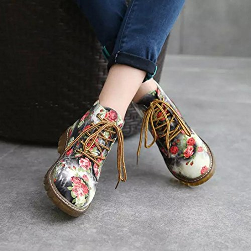 Womens Winter Flat Faux Ankle Boots Yellow Inkach Shoes Printed Suede Boots Floral Martin Shoes Riding AaTqH