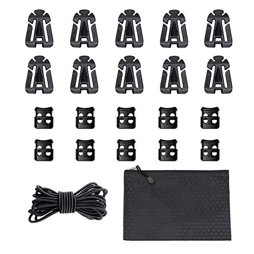 (AXEAX Kit of 21 Attachments-10 Molle Web Dominator Strings,10 Plastic Cord Locks, 15 Ft Elastic Rope for Webbing Molle Bags,Tactical Backpack,Vest,Belt)