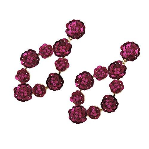 BOCAR Statement Cluster Sequin Stud Earrings Beaded Bubble Dangle Soiree Earrings for Women Girl (Sequin Beaded Earrings)