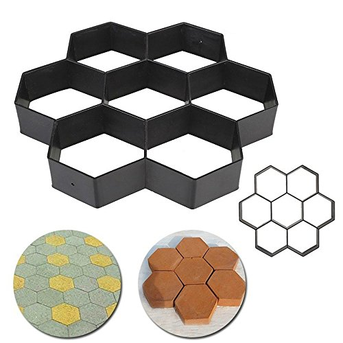 Transer 8/9 Grids DIY Walk Maker Pathmate Stepping Concrete Cement Paver Stone Mold for Paving Pavement Patio Walkway D Black