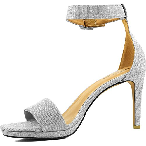 DailyShoes Womens High Heel Open Toe Ankle Buckle Strap Platform Evening Dress Casual Pump Sandal Shoes Silver Gl noFKEbBL7