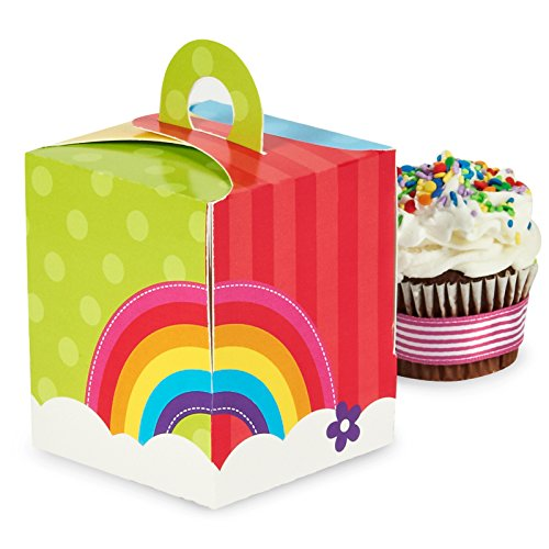 Rainbow Wishes Party Supplies - Cupcake Boxes (4) (Wizard Party Of Supplies Oz In)
