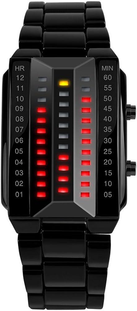 TONSHEN Mujer Binario Relojes de Pulsera Digitales Deportivos Electrónica Negro Acero Inoxidable 3D Dial Diseño Elegante Simple Rojo Y Amarillo LED luz Moda Deportes Relojes