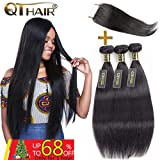 QTHAIR 10A Grade Brazilian Virgin Human Hair Straight Hair with Closure(20'' 22'' 24'' with 18'') 100% Virgin Brazilian Hair with Free Part Swiss Lace Closure Natural Black
