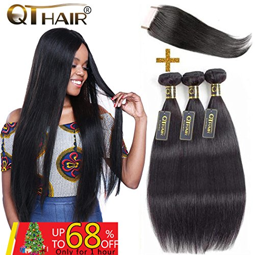 QTHAIR 10A Grade Brazilian Virgin Human Hair Straight Hair with Closure(20'' 22'' 24'' with 18'') 100% Virgin Brazilian Hair with Free Part Swiss Lace Closure Natural Black by QTHAIR
