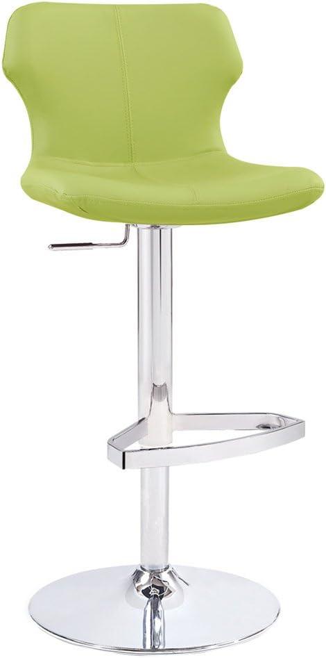 Zuri Furniture Modern Adjustable Leatherette Ellery Bar Stool with Chrome Base – Lime Green