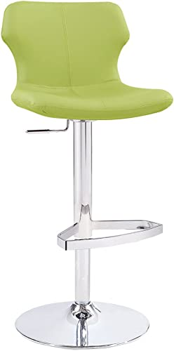 Zuri Furniture Modern Adjustable Leatherette Ellery Bar Stool with Chrome Base – Lime Green