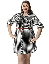 Allegra K Women Plus Size Belted Plaid Shirt Dress