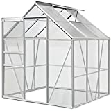 Deuba Polycarbonate Garden Greenhouse Size Choice 6ft x 6ft 190cm x 195cm without Base Clear Walk-In Aluminium Frame w/Slide Door Plants Grow House