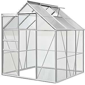 Invernadero acristalado de policarbonato y aluminio, estructura con pintura de polvo, 5,85 m³