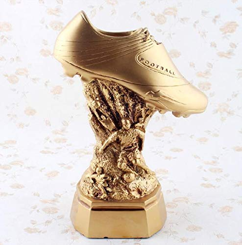 (DAJIADS Figurine Figurines Statue Statues Statuette Sculptures Buddha Soccer Trophy Model Modern Resin Golden Boot Award Sculpture Sports Series Crafts Golden Sneakers Decoration)