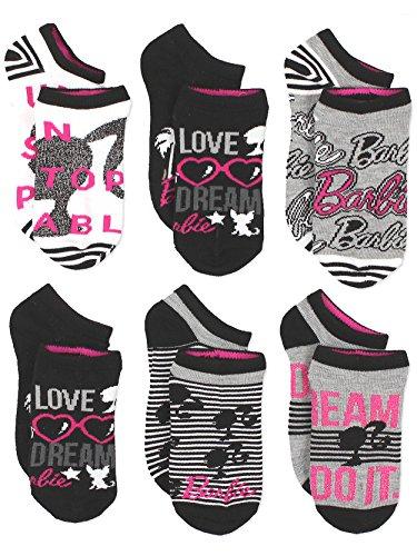 - Barbie Girls 6 pack Socks (6-8 / Shoe: 10-4, Black/Multi)